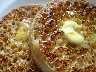 Buttered cinnamon crumpets (my favorite breakfast treat!).