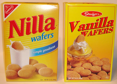 An empty box that once held Nilla wafers (wow, that sounds pretentious ...