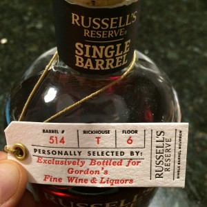 Russell's Reserve Single Barrel for Gordon's Fine Wines